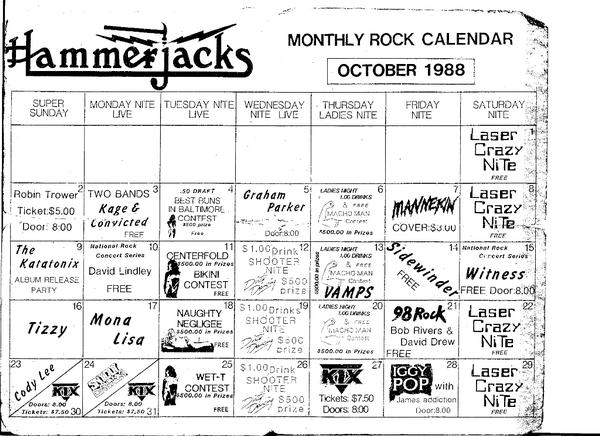 A look at the lineup for Hammerjack's in October of 1988